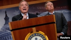 U.S. Senator Richard Durbin (D-IL) and Senator Lindsey Graham (R-SC) speak about proposed legislation to deal with Deferred Action for Childhood Arrivals (DACA) at the U.S. Capitol in Washington, U.S. Sept. 5, 2017.