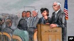 Ilustración del sospechoso del atentado al Maratón de Boston, Dzhokhar Tsarnaev, segundo de la derecha, junto al juez George O'Toole Jr.