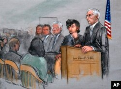 In a courtroom sketch, Boston Marathon bombing suspect Dzhokhar Tsarnaev, second from right, appears with lawyers, left, and U.S. District Judge George O'Toole Jr., right, as O'Toole addresses potential jurors.