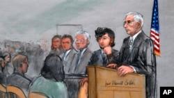 Dalam sketsa persidangan, tersangka pelaku bom Marathon Boston Dzhokhar Tsarnaev, kedua dari kanan, digambarkan bersama pengacaranya, kiri, di samping Hakim Distrik AS, George O'Toole Jr., kanan.