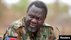 South Sudan's opposition leader Riek Machar speaks to rebel General Peter Gatdet Yaka (not seen) in rebel-controlled territory on Feb. 1, 2014.