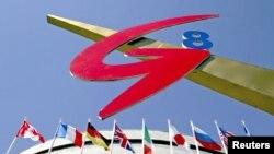 八國集團國家的旗幟及標誌(2006年7月13日聖彼得堡照)