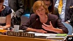 La embajadora Samantha Power se dirige al Consejo de Seguridad de Naciones Unidas.