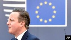 Thủ tướng Anh David Cameron đến hội nghị thượng đỉnh EU tại tòa nhà Hội đồng EU, Brussels, ngày 19/2/2016.