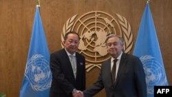 朝鲜外长李勇浩与联合国秘书长古特雷斯2017年9月23日会面(法新社)