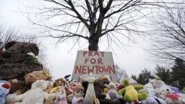 Plišane igračke i poziv na molitvu za Njutaun koje su ožalošćeni stanovnici ostavili kraj jednog drveta na gradskom groblju u Njutaunu