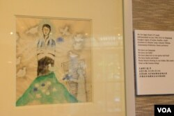 日本畫家井早智代繪畫自焚藏人的作品。(美國之音湯惠芸)
