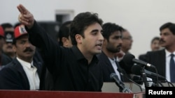Bilawal Bhutto Zardari, son of assassinated former Pakistani prime minister Benazir Bhutto, makes a speech to launch his political career during the fifth anniversary of his mother's death, at the Bhutto family mausoleum in Garhi Khuda Bakhsh, near Larkan