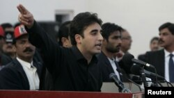 Bilawal Bhutto Zardari, son of assassinated former Pakistani prime minister Benazir Bhutto, makes a speech to launch his political career during the fifth anniversary of his mother's death, at the Bhutto family mausoleum in Garhi Khuda Bakhsh, near Larkan, December 27, 2012.
