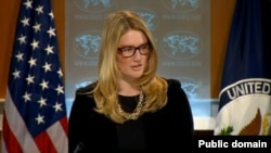 FILE - State Department spokeswoman Marie Harf is seen at a daily briefing at the State Department in Washington, D.C.