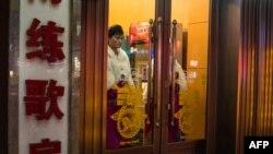 L'entrée d'un restaurant nord-coréen à Shenyang, Chine, le 7 janvier 2018.
