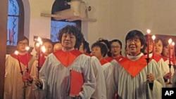北京崇文门教堂的圣诞烛光崇拜会