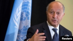 French Foreign Minister Laurent Fabius speaks during a news conference in New York, Sep. 26, 2013.