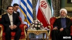 آلکسیس چیپراس نخست وزیر یونان در کنار حسن روحانی در تهران