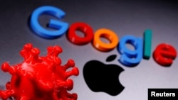 A 3D printed coronavirus model and Google logo are placed near an Apple Macbook Pro in this illustration taken April 12, 2020. (REUTERS/Dado Ruvic/Illustration)