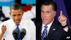 Presiden AS Barack Obama dan penantangnya Mitt Romney dalam kampanye di negara bagian Virginia. (AP/Charles Darapak)