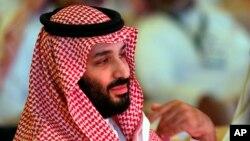 沙特王儲穆罕默德·本·薩勒曼2018年10月出席一個國際投資會議(美聯社)