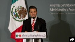 Mexico's President-elect Enrique Pena Nieto delivers a speech during an event in Mexico City, Wednesday, Nov. 14, 2012.