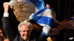 Kandidat dari partai yang berkuasa, Tabare Vazquez, merayakan kemenangannya di Montevideo, Uruguay, Minggu (30/11). (AP/Matilde Campodonico)