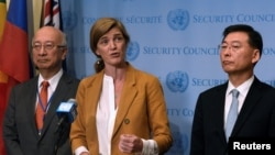 U.S. Ambassador Samantha Power speaks to reporters with Japanese Ambassador Koro Bessho, left, and South Korean Ambassador Hahn Choong-hee following the U.N. Security Council closed-door meeting to discuss the latest missile launches by North Korea at the U.N. in New York, Sept. 6, 2016.