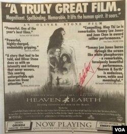 """Quảng cáo phim """"Heaven and Earth"""" trên báo vùng Vịnh San Francisco (Ảnh: Bùi Văn Phú)"""