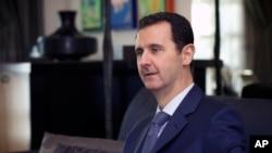 敘利亞總統阿薩德2015年1月26日在大馬士革接受一美國雜誌訪問資料照。