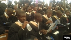 Graduands with relatives and friends at Zimbabwe's Chinhoyi University. (Photo Arthur Chigoriwa)