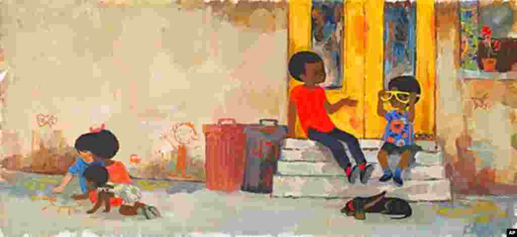 """In """"Goggles,"""" Peter and friends sit on the proverbial New York City stoop."""