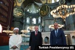 Diyanet İşleri Başkanı Erbaş, Cumhurbaşkanı Erdoğan ve Turizm Bakanı Ersoy Ayasofya'da