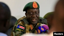 Chief of Staff of South Sudan's army, General James Hoth Mai, was fired by President Salva Kirr. The general is shown speaking to media in Juba January 2, 2014.