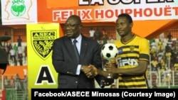 Hervé Ahmed Diomandé (22), l'homme du match de la Supercoupe entre l'ASEC Mimosas, son équipe, et Africa Sports, à Abidjan, Côte d'Ivoire, 30 septembre 2017. (Facebook/ASEC Mimosas)