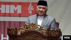 Profesor Din Syamsudin memberikan tausyiah pada silaturahmi Idul Fitri keluarga besar Muhammadiyah di Yogyakarta, Senin (28/7).