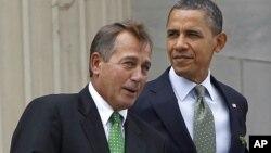 Predsedavajući Predstavničkog doma Džon Bejner i predsednik Barak Obama (arhivski snimak)