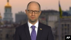 Ukraine's embattled Prime Minister Arseniy Yatsenyuk said in a televised statement that he is resigning, opening the way for the formation of a new government to end a drawn-out political crisis, in Kyiv, April 10, 2016.
