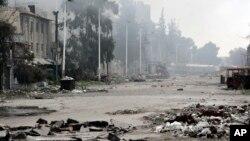 Une rue de Damas, près de la place Abbassiyin le 20 mars 2017, après que des affrontements aient éclaté entre les forces gouvernementales syriennes et les rebelles.