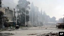 Wurin da dakarun gwamnatin Syria da 'yan tawaye suka gwabza fada a birinin Damascus