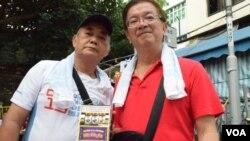 長洲中興街街坊值理會主席梁國明(右)。(美國之音湯惠芸)