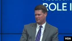 美国国防部印太安全事务助理部长薛瑞福2019年10月1日在华盛顿智库布鲁金斯学会发表演讲