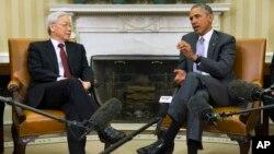 Tổng thống Obama tiếp ông Nguyễn Phú Trọng tại Tòa Bạch Ốc hôm 7/7/2015.
