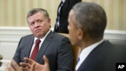 ABŞ prezidenti Barak Obama Ağ Evdə İordaniya kralı II Abdulla görüş zamanı