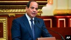 Presiden Mesir Abdel Fattah el-Sisi berbicara di Kairo (foto: dok).