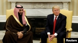 U.S. President Donald Trump meets with Saudi Deputy Crown Prince Mohammed bin Salman in the Oval Office of the White House in Washington, March 14, 2017.