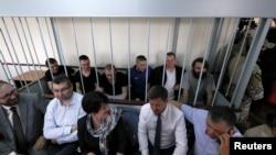 Украинские моряки в зале суда