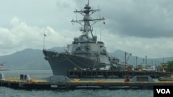 The USS John S. McCain destroyer at Subic Bay, Philippines, June 26, 2014. (Simone Orendain/VOA)