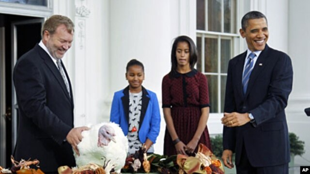 U.S. President Barack Obama (R) pardons the 2011 Thanksgiving Turkey, Liberty, alongside his daughters Sasha (2nd L) and Malia, on the North Portico of the White House, November 23, 2011