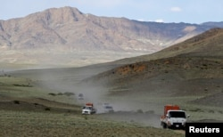 Trucks carrying Przewalski's horses drive to Takhin Tal National Park, part of the Great Gobi B Strictly Protected Area, in southwest Mongolia, June 20, 2017.