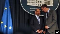 Predsednik EP Martin Šulc sa srpskim premijerom Aleksandrom Vučićem u Beogradu.