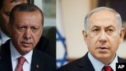 بنیامین نتنیاهو صدراعظم اسرائیل (راست) و رجب طیب اردغان رئیس جمهور ترکیه (چپ)