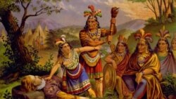 This painting portrays the story of Pocahontas saving the life of Captain John Smith