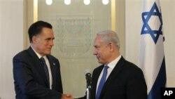 美國共和黨總統候選人羅姆尼星期日在耶路撒冷會見以色列總理內塔尼亞胡